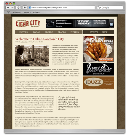 Cigar City Magazine website design