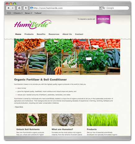 Organic website design for HumiVerde
