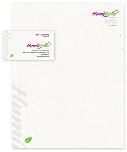Letterhead and business card design for HumiVerde